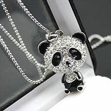 Cute Crystal Rhinestone Animal Panda Bear Pendant Sweater Chain Necklace Gift
