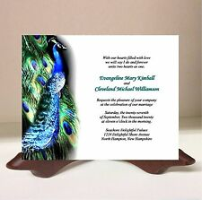 50 Personalized Blue Peacock Green Feather Wedding Invitation RSVP Card Envelope