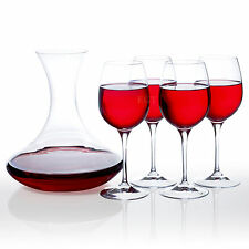 RCR Crystal Glass Wine Decanter & 4 450ml Red Wine Glasses Gift Boxed Set Drink
