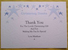 10 CHRISTENING THANK YOU CARDS PERSONALISED WITH ENVS PINK BLUE LILAC GREEN