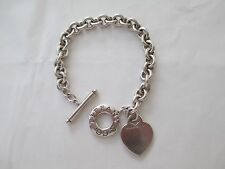 Tiffany & Co Sterling Silver Heart Tag Charm Toggle Bracelet Mono: ALEXIS 061C