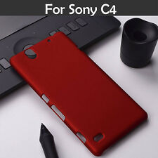 For Sony Xperia C4 Rubberized Matte Hard Back Case Cover - Red