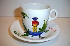 Vintage Anfora Mexican Sombrero Man Hand Painted Pottery Cup & Saucer Mexico