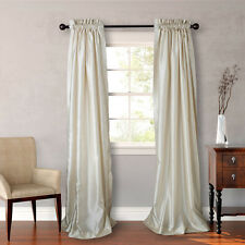 Heritage Landing 84-inch Faux Silk Lined Curtain Pair in Ivory Set