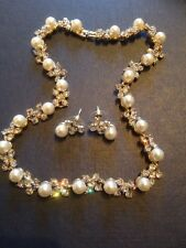 pearl necklace and earrings set in gold with 115cz stones 23 pearls all handmade