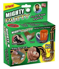 New MIGHTY PUTTY 3 PK SEAL GLUE DRYWALL METAL CONCRETE TILE GLASS WOOD