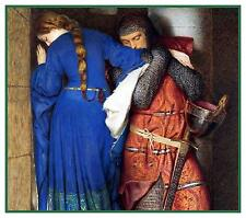Frederic William Burton Meeting on Turret Stairs Counted Cross Stitch Pattern