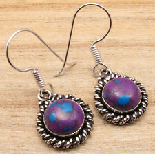 PURPLE COPPER TURQUOISE Gemstone Earrings ! Silver Plated NEW Fashion Jewellery