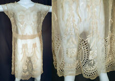 Vintage Floral Bow Eyelet Embroidered Cream Net Lace Drop Waist Shift Dress