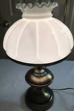 ANTIQUE VICTORIAN BRASS CAST IRON ELECTRIC OIL LAMP WITH WHITE GLASS SHADE