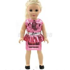 "Elegant Pink Sequins Dress Our Generation American Girl 18"" Doll Clothes"
