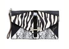 GUESS Quinn Zebra Hair Calf Envelope Clutch Wristlet Wallet NWT