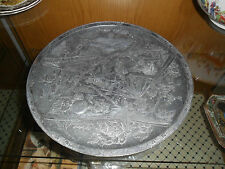 """SUPERB QUALITY ANTIQUE JAPANESE PEWTER CHARGER 12""""DIA WITH VERY INTRICATE DETAIL"""