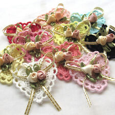 10/50PCS Ribbon Flowers Bows Padded Appliques Wedding Decor Lots Mix
