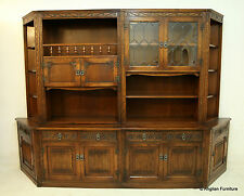 Old Charm Furniture Wall Unit Tudor Brown Free Nationwide Delivery