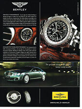 PUBLICITE ADVERTISING 114  2008  BREITLING  for BENTLEY   montre