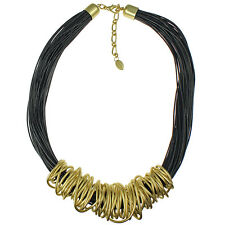 Gold chunky spiral wrap black leather cord choker necklace fashion jewellery