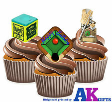 12 x Snooker Table Chalk Happy Birthday Mix Edible Cup Cake Toppers Stand Ups