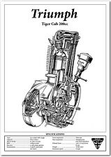 Triumph Motorbike Tiger Cub 200 Motorcycle Engine Spec - Workshop Poster