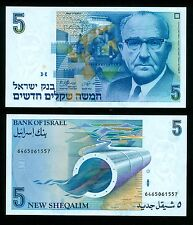 Bank of Israel - 1985 5 NEW SHEQALIM Note P-52a Levi Eshkol UNC, COMBINE FREE