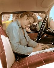 """JAMES DEAN SIGNING AUTOGRAPHS 1955 ACTOR  8x10"""" HAND COLOR TINTED PHOTOGRAPH"""