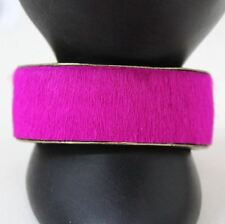 "ISABEL MARANT Ladies Fuchsia Pink Fur 1"" Wide Open Style Statement Cuff Bracelet"