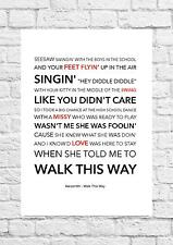 Aerosmith - Walk This Way - Song Lyric Art Poster - A4 Size