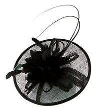H-3070-06 Feather Flower Sinamay Fascinator - Black