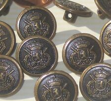 Set 14 Military Style Vintage antiqued BRASS metal new buttons