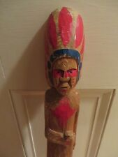 long old vintage wooden wood carved Indian Native Chief Spear Souvenir Folk Art
