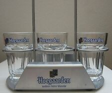 HOEGAARDEN Glasses and Tray Three 4 oz .118 Beer Tasting Glass Beer Flight