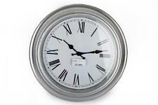 42cm large Round Antique Distressed Silver Vintage Retro Station Wall Clock