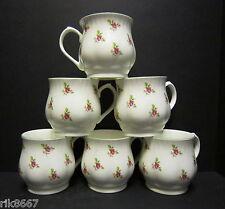 Set of 6 Dot Rose Bulbous English Fine Bone China Mugs By Milton China
