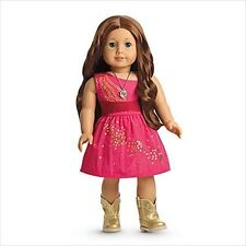 American Girl SAIGE SPARKLE DRESS PINK FANCY boots necklace retired NIB NO DOLL