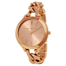 Michael Kors MK3223 Ladies Slim Runway Chain Rose Gold Watch - 2 Years Warranty
