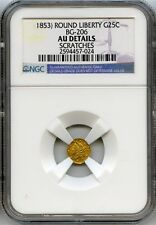 Nd 1853 Octag Liberty G25C California Fractional Gold / Bg-206 Ngc Au