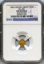 Nd 1853 Octag Liberty G25C California Fractional Gold / Bg-206 Ngc Au