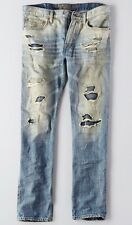 American Eagle AE Men's Jeans, Slim, Straight, Destroyed Light Wash 28x34 NEW!!