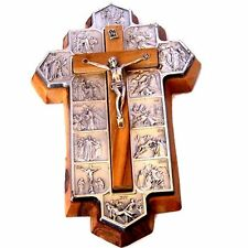 Olive Wood Crucifix - icon showing 14 Stations of the Cross etched on metal (14x