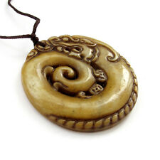 One Bead--Old Jade Gem Happy Lucky Chinese Zodiac Dragon Money Amulet Pendant