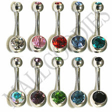 W106 Double Gem Jewels Naval Belly Rings Ring LOT of 10 Light Colors