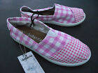 BNWT Older Girls Sz 3 Rivers Doghouse Brand Cute Pink/Checked Canvas Shoes