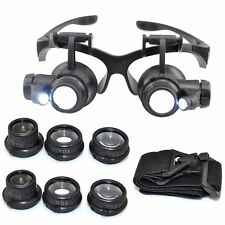 25X Magnifier Magnifying Eye Glass Loupe Jeweler Watch Repair Kit LED Light 20X
