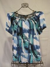 "Misses STYLE & CO. Blue/Teal/White/Black Short Sleeve Blouse 1X 47"" EUC"
