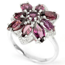 Sterling Silver 925 Genuine Natural Raspberry Rhodolite Ring Size O (US 7.25)