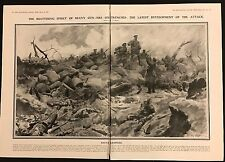 1915 Original 2-Page Newspaper Illustration British attack at Neuve Chapelle WW1
