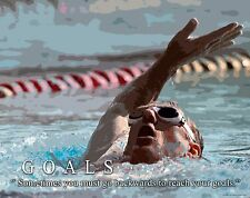 Swimming Motivational Poster Art Print Swimwear Swim Youth Women's Mens  MVP423