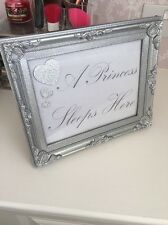 Stunning Silver Glitter Sparkle 7X5 'A Princess Sleeps Here' Frame