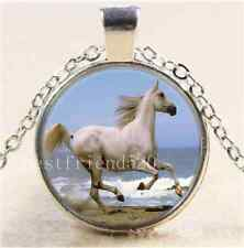 White Horse Photo Cabochon Glass Tibet Silver Chain Pendant Necklace#125