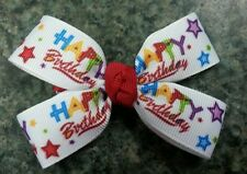Happy birthday stars blue red purple hairbow girl nonslip alligator clip